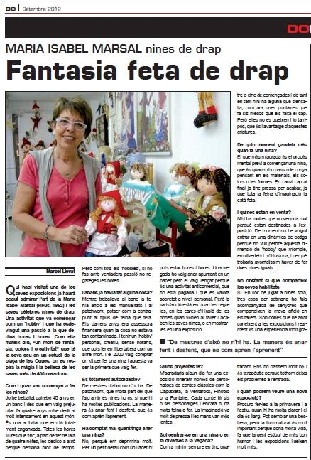 """Reportatge Revista DOreus10. """"Fantasia deta drap"""" (setembre 2012)"""